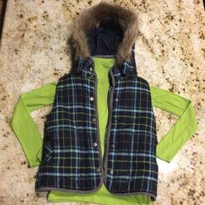 Boutique plaid fur hood vest and lime L/S shirt S
